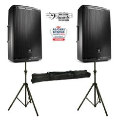 2x JBL EON615 2000W Active PA Speaker or Monitor + Mixer + Stands + 2Yr Warranty